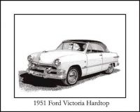 1951 Ford Victoria hardtop drawing