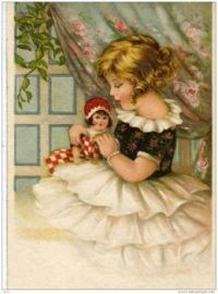 Themes Vintage illustrations/pictures - Girl with doll