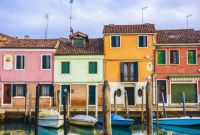 Colorful Houses with Boats