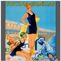 Themes Vintage Travel Poster - Piscina