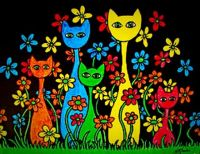 Colorful cats and flowers