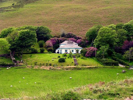 House on hillside pastureland near Anascaul, Kerry, Ireland.  Photo by Pam Brophy