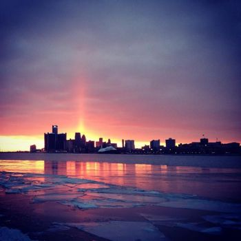 Sunset over Detroit, Michigan