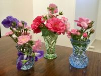 Three cute tiny vases featuring miniature roses