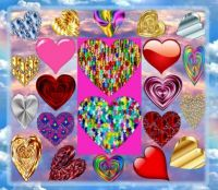 Puzzling Hearts On Clouds Collage
