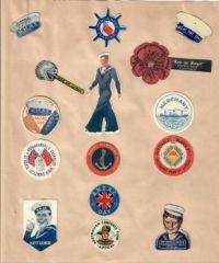 Wartime badges etc from scrapbook
