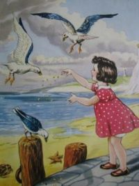 Themes Vintage illustrations/pictures - The seagulls at the seaside