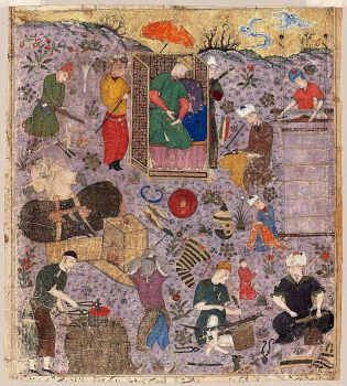 """Firdawsi's """"Shahnama"""": Artisans at Work at the Court of Jamshid, Indian or Persian, 15th century"""