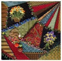 Crazy Quilt with Daffodils and Violets