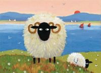 silly sheep on canvas.