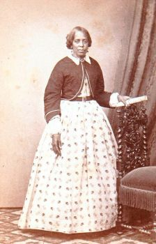 African American woman in elegant dress mid-1800s