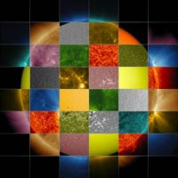 Collage of solar images from NASA's SDO