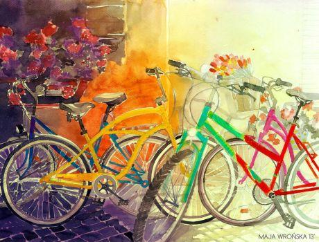 maja wronska watercolor bikes