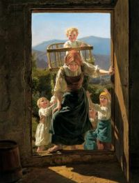 Ferdinand Georg WALDMÜLLER - Mother with Children Returning Home