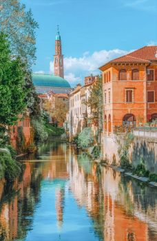 Basilica Palladiana seen from River Retrone in historic center of Vicenza, a city in the Veneto region of northeast Italy