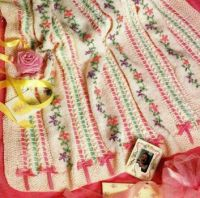 Embroidered Flowers Knitted Baby Afghan