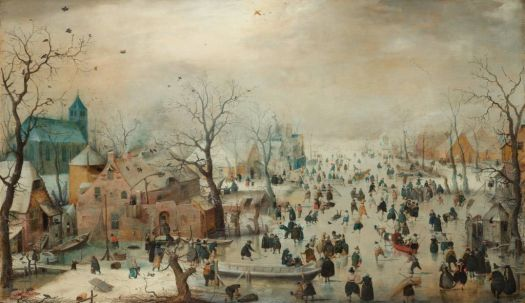 Winterlandscape, having fun on the ice by Hendrick Avercamp ca. 1608