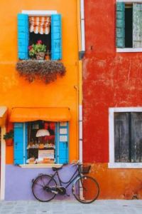 Colorful facade of a house in Burano, Italy