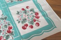 Vintage Cherries Aqua Tablecloth