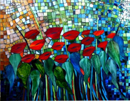 Stained Glass - Summer Poppies