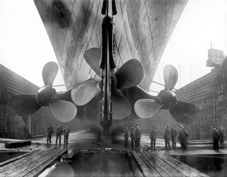 Propellers of the Titanic before its maiden voyage
