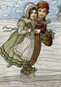 Old postcard of 2 dutch children