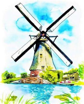 Old Classic Dutch Windmill
