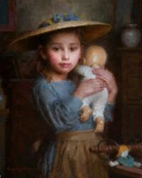 Sweet Little Girl In Blue With Her Doll And A Poem ~ Artist, Morgan Weistling