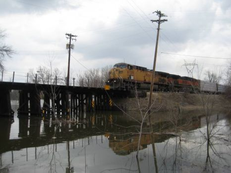 TRAIN OVER FLOOD
