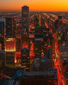 Chicago skyline from 360 observation deck