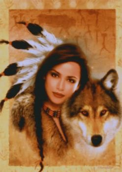 indian lady & wolf