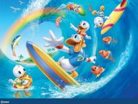 Donald and Nephews Surfing