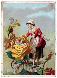 Victorian graphics fairy, Lady with rose baby