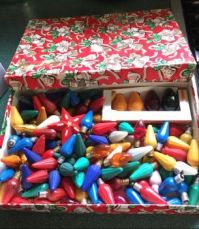 Vintage gift box and bulbs