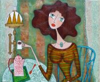 Yvonne Feavearyear Art - Sitting in the Blue Chair