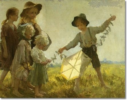 Children Playing with a Kite Painting by Adam Emory Albright -