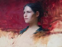 Jeremy Lipking Young Girl with green and Red[