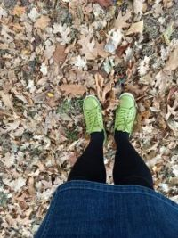 new shoes in autumn leaves
