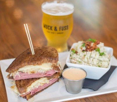 Reuben Sandwich, German potato salad, and beer at the Muck & Fuss Craft Beer and Burgers Restaurant in New Braunfels, TX