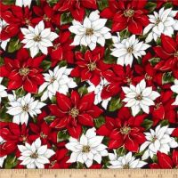 Christmas Poinsettia fabric design
