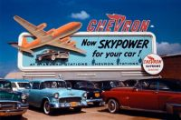 Vintage Chevron Gas Ad - Now Skypower For Your Car!