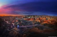 Sunrise at Danxia landform, Zhangye, China by Weerapong Chaipuck