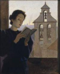 """Portrait of """"A Woman Reading"""" By Joan Llimona"""