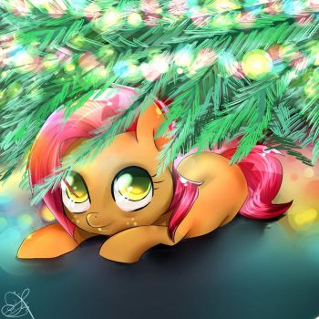 MLP: Babs Seed Loves To Hide Under The Christmas Tree by daughter_of_fantasy