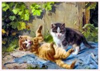 Kittens at Play by Julius Adam (1852-1913)