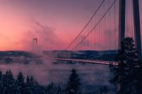 Högakustenbron in the pink and the clouds