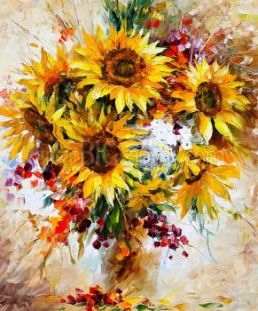 Sunflowers-of-happiness, by Leonid Afremov