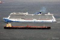 Norwegian Bliss  and Seriana in Gibraltar Bay