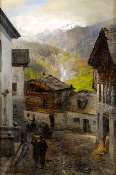 Mountain Village at the Foot of the Rigi by Oswald Achenbach