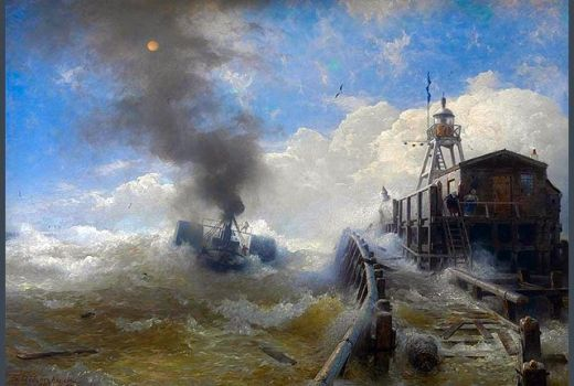 A Tugboat Leaving the Port of Ostend at High Tide by Andreas Achenbach